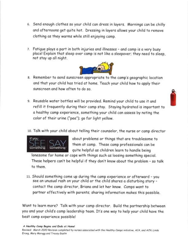 A healthy camp begins at home pg 2
